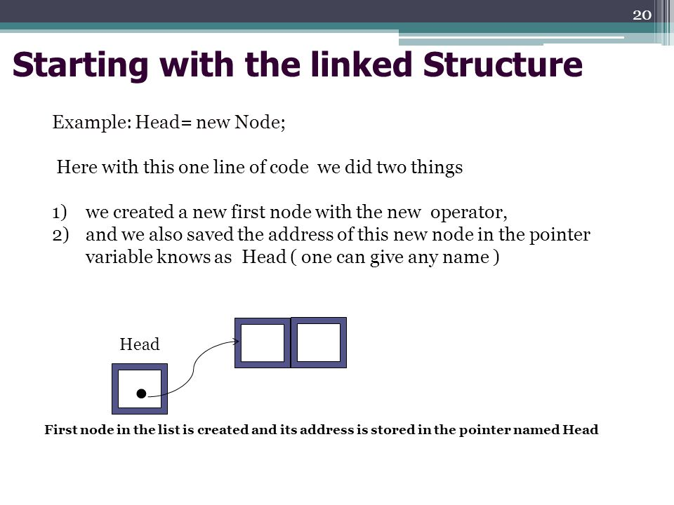 Starting with the linked Structure Example: Head= new Node; Here with this one line of code we did two things 1)we created a new first node with the new operator, 2)and we also saved the address of this new node in the pointer variable knows as Head ( one can give any name ) Head.