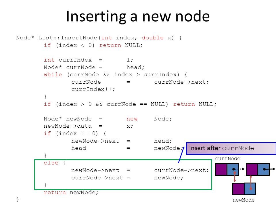 Node* List::InsertNode(int index, double x) { if (index < 0) return NULL; int currIndex=1; Node* currNode=head; while (currNode && index > currIndex) { currNode=currNode->next; currIndex++; } if (index > 0 && currNode == NULL) return NULL; Node* newNode=newNode; newNode->data=x; if (index == 0) { newNode->next=head; head=newNode; } else { newNode->next=currNode->next; currNode->next=newNode; } return newNode; } Insert after currNode newNode currNode Inserting a new node