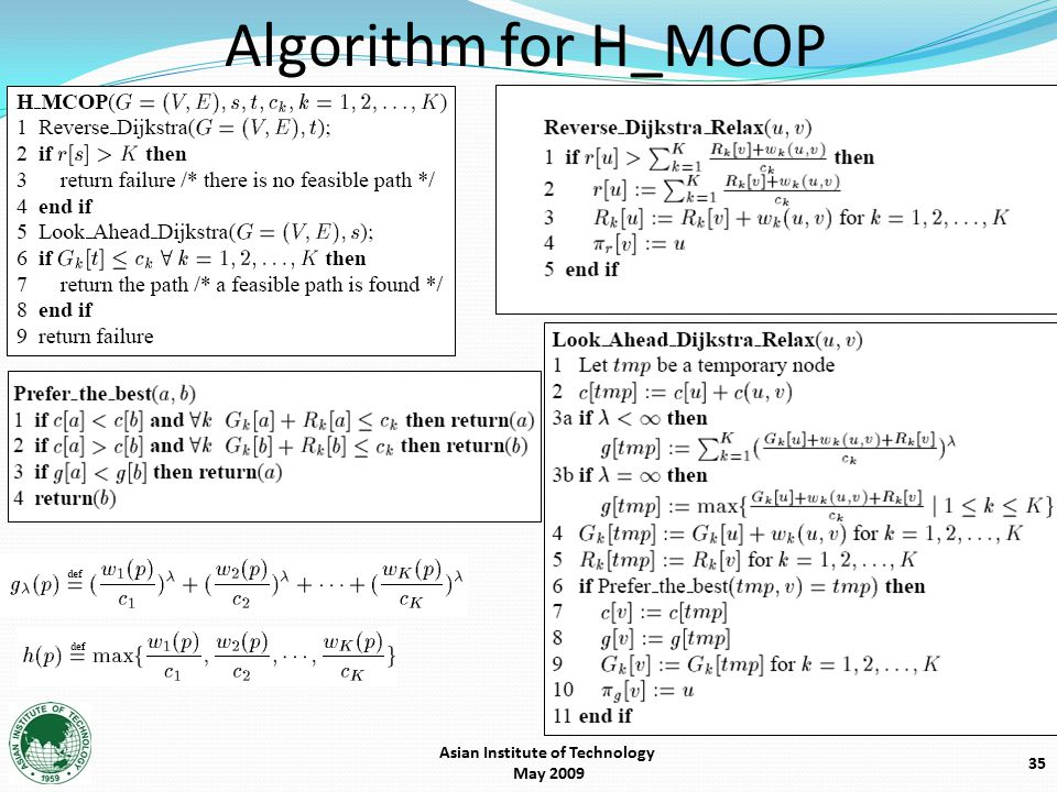 Algorithm for H_MCOP 35 Asian Institute of Technology May 2009