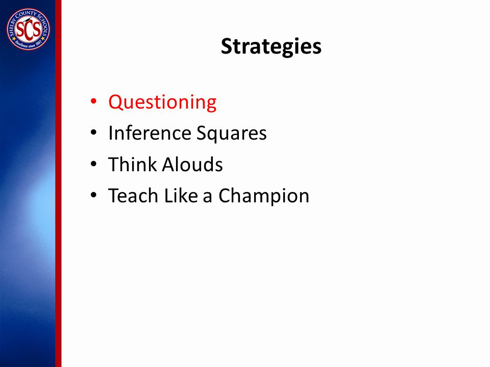 Strategies Questioning Inference Squares Think Alouds Teach Like a Champion