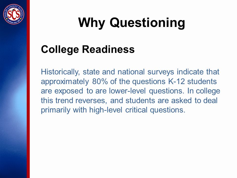 College Readiness Historically, state and national surveys indicate that approximately 80% of the questions K-12 students are exposed to are lower-level questions.