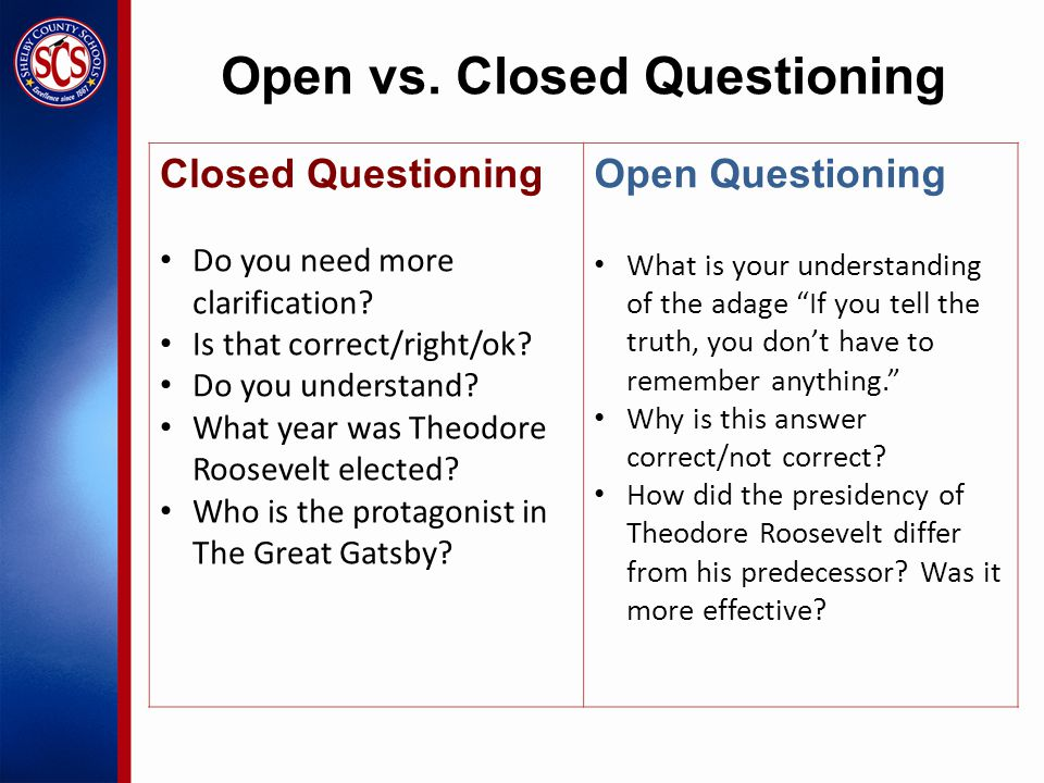 Open vs. Closed Questioning Closed Questioning Do you need more clarification.