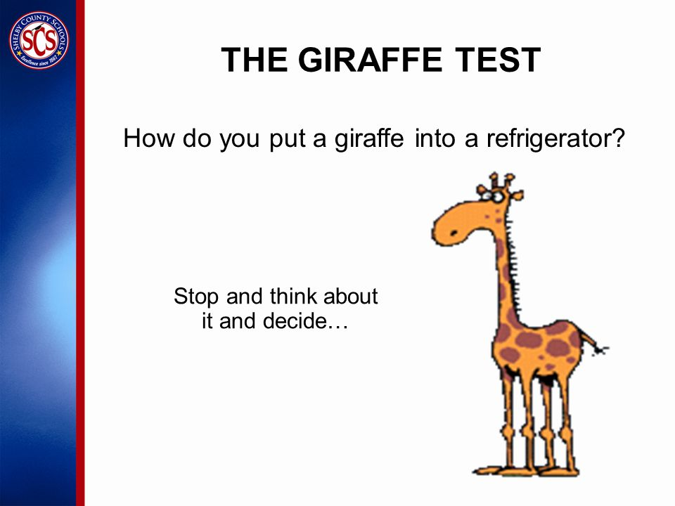 Stop and think about it and decide… How do you put a giraffe into a refrigerator THE GIRAFFE TEST