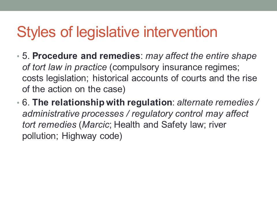Styles of legislative intervention 5.