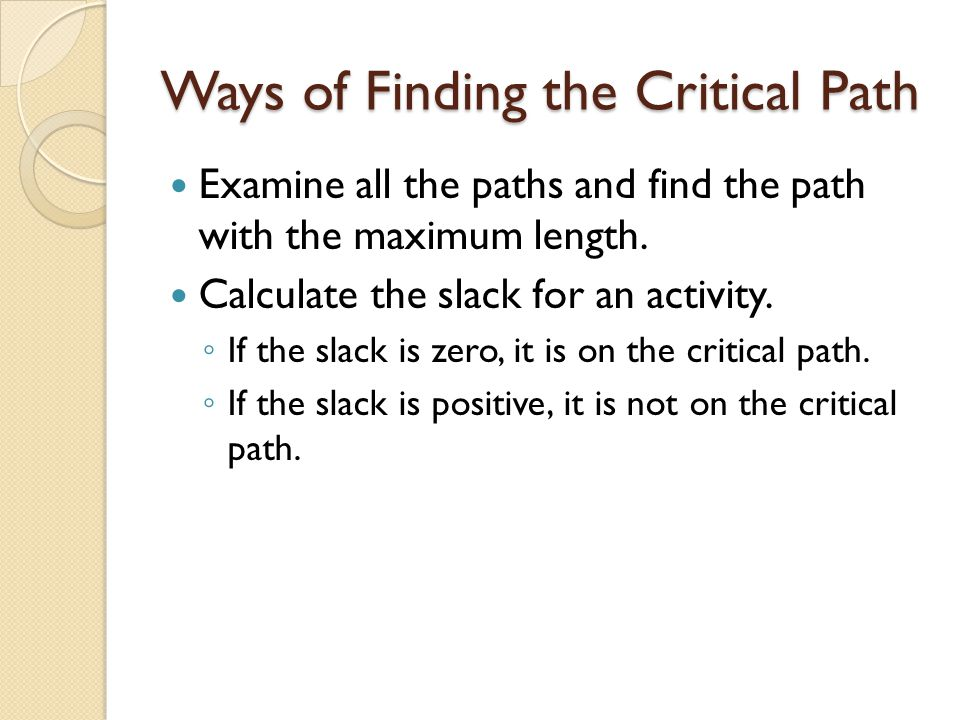 Ways of Finding the Critical Path Examine all the paths and find the path with the maximum length.