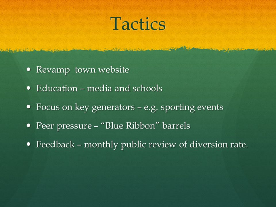 Tactics Revamp town website Revamp town website Education – media and schools Education – media and schools Focus on key generators – e.g. sporting ev