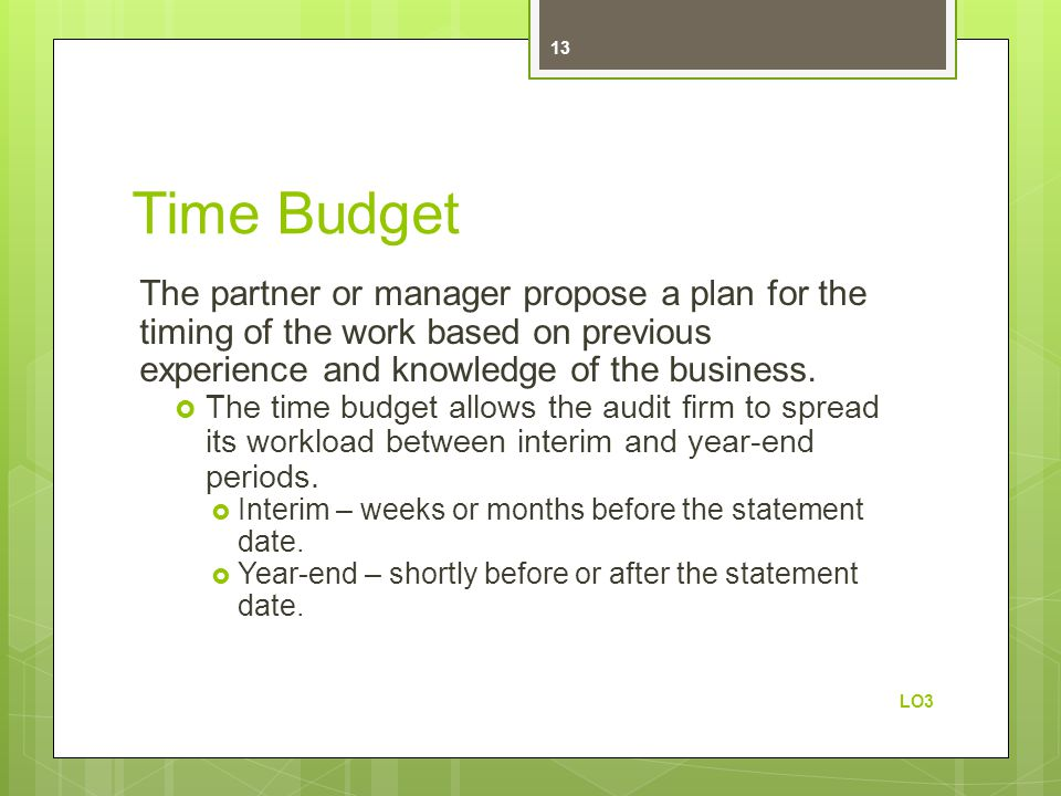 Time Budget The partner or manager propose a plan for the timing of the work based on previous experience and knowledge of the business.  The time bu