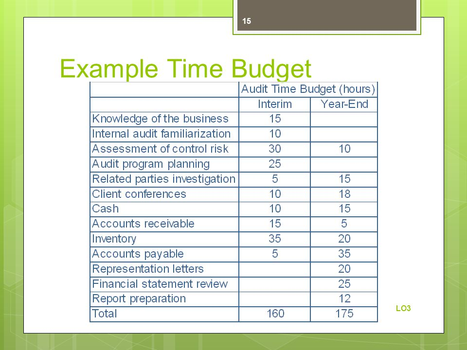 Example Time Budget LO3 15