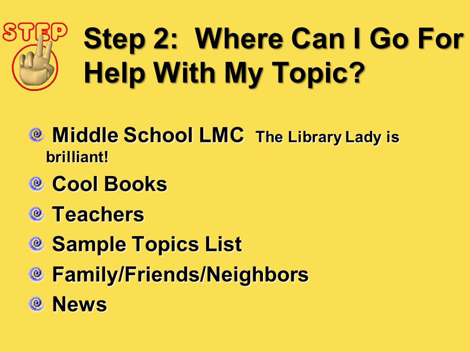 Step 2: Where Can I Go For Help With My Topic? Middle School LMC The Library Lady is brilliant! Cool Books Cool Books Teachers Teachers Sample Topics