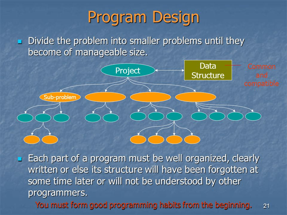 21 Program Design Divide the problem into smaller problems until they become of manageable size. Divide the problem into smaller problems until they b