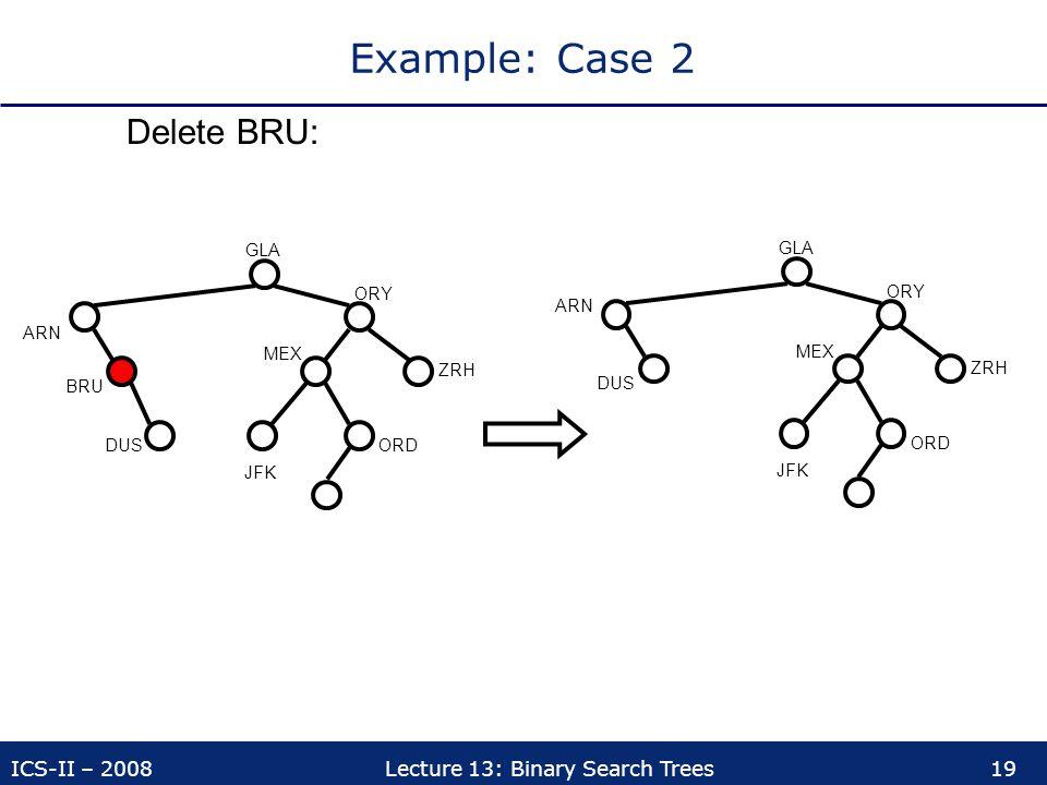 ICS-II – 2008Lecture 13: Binary Search Trees19 Example: Case 2 Delete BRU: ORY ZRH MEX ORDDUS BRU ARN JFK ORY ZRH MEX ORD DUS ARN JFK GLA