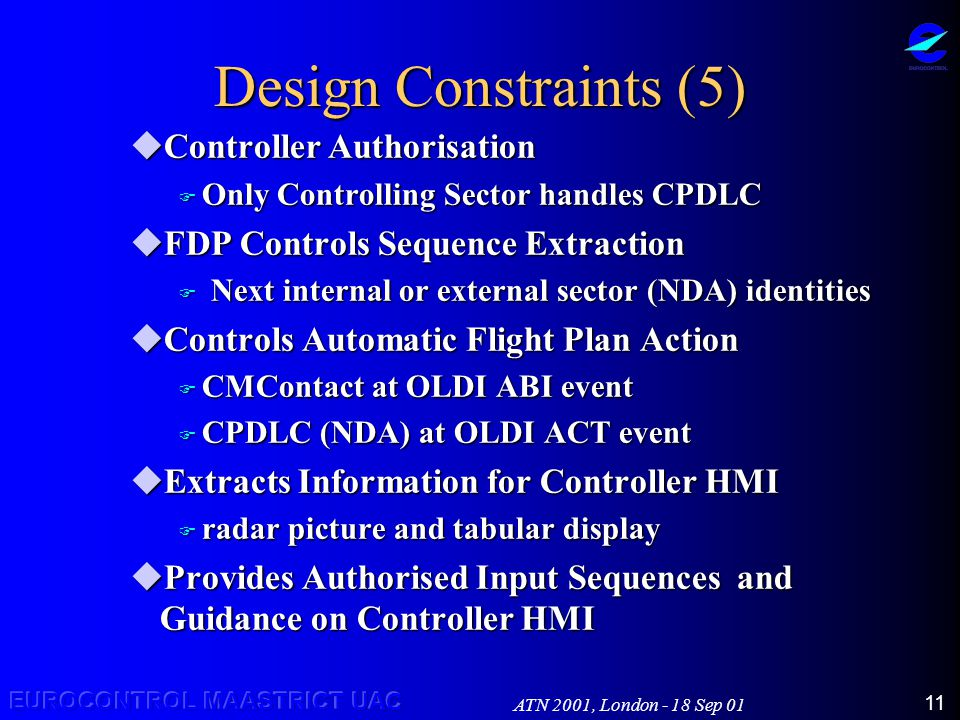 ATN 2001, London - 18 Sep 01 11 Design Constraints (5) uController Authorisation F Only Controlling Sector handles CPDLC  FDP Controls Sequence Extraction  Next internal or external sector (NDA) identities  Controls Automatic Flight Plan Action F CMContact at OLDI ABI event  CPDLC (NDA) at OLDI ACT event  Extracts Information for Controller HMI  radar picture and tabular display uProvides Authorised Input Sequences and Guidance on Controller HMI