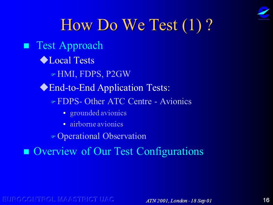 ATN 2001, London - 18 Sep 01 16 How Do We Test (1) .
