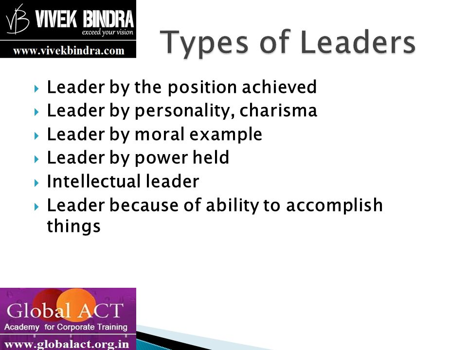 Leading people Influencing people Commanding people Guiding people