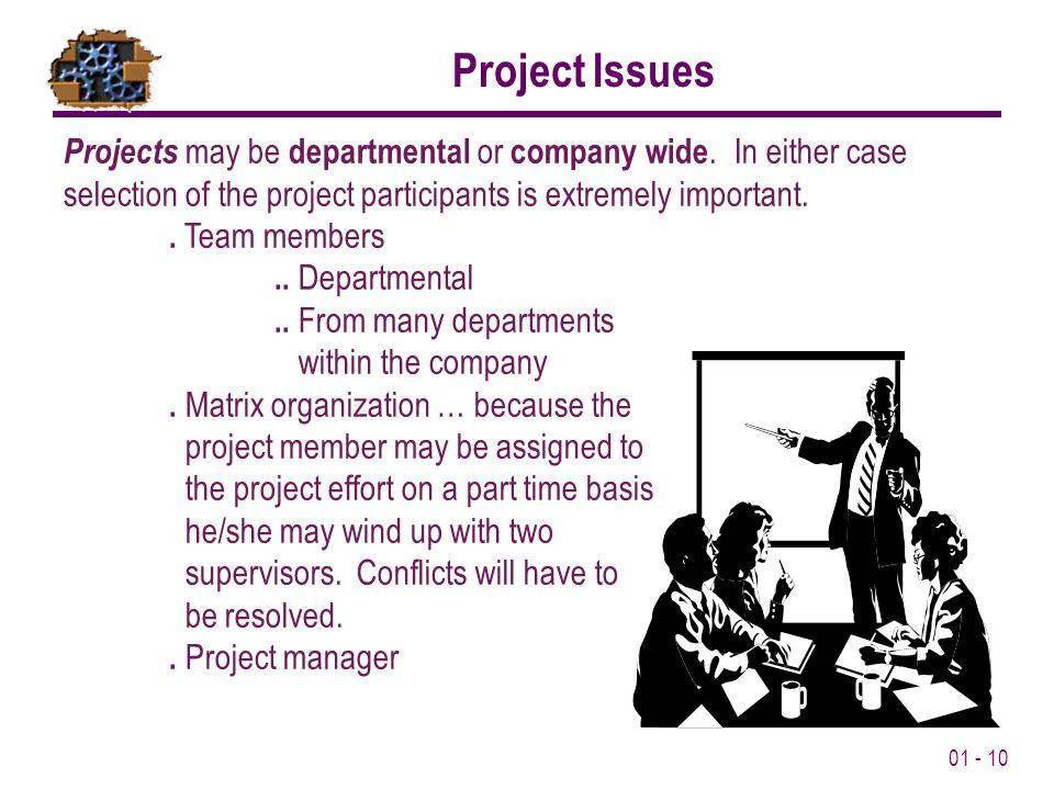 01 - 10 Project Issues Projects may be departmental or company wide.