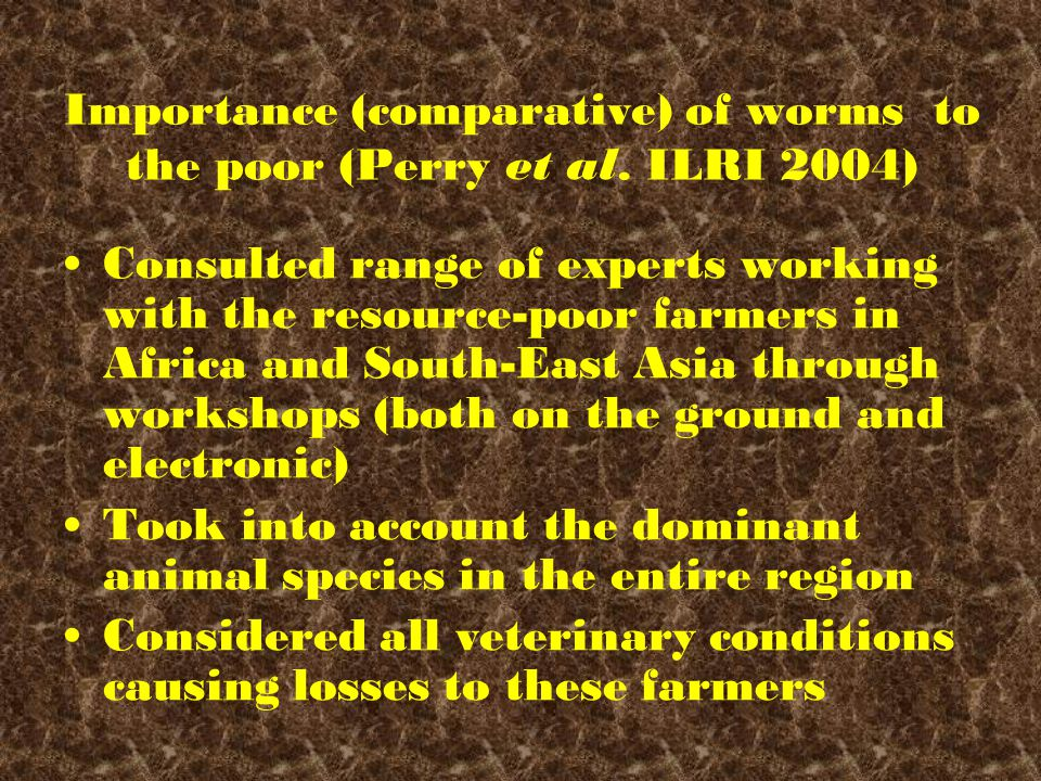 Importance (comparative) of worms to the poor (Perry et al.