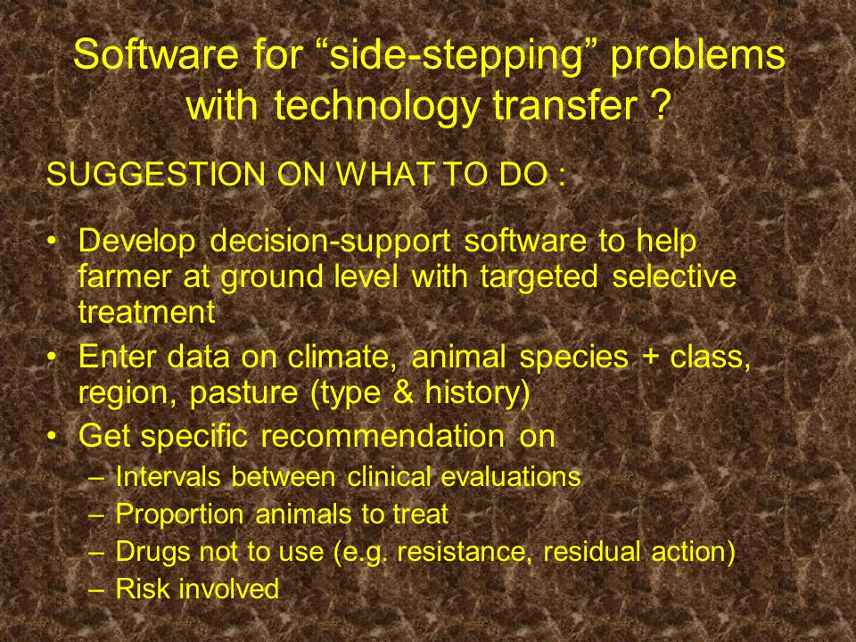 Software for side-stepping problems with technology transfer .