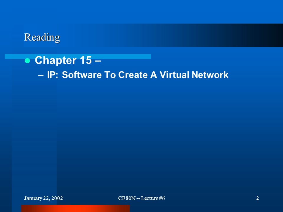 January 22, 2002CE80N -- Lecture #62 Reading Chapter 15 – –IP: Software To Create A Virtual Network