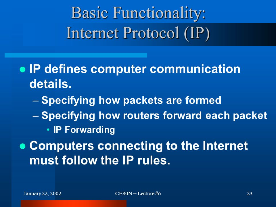 January 22, 2002CE80N -- Lecture #623 Basic Functionality: Internet Protocol (IP) IP defines computer communication details.
