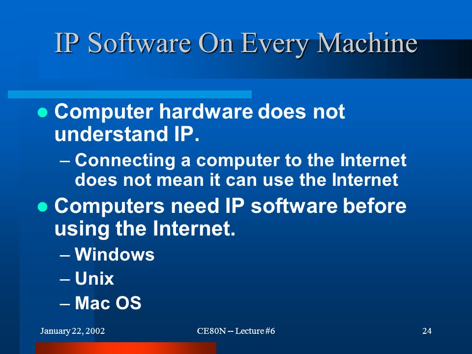 January 22, 2002CE80N -- Lecture #624 IP Software On Every Machine Computer hardware does not understand IP. –Connecting a computer to the Internet do