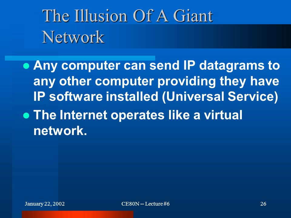 January 22, 2002CE80N -- Lecture #626 The Illusion Of A Giant Network Any computer can send IP datagrams to any other computer providing they have IP software installed (Universal Service) The Internet operates like a virtual network.