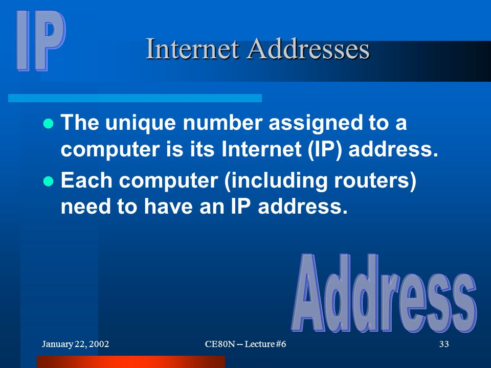 January 22, 2002CE80N -- Lecture #633 Internet Addresses The unique number assigned to a computer is its Internet (IP) address. Each computer (includi