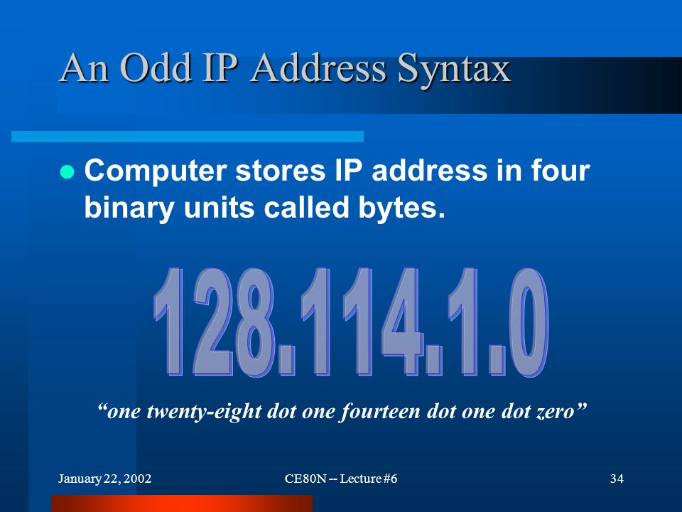 "January 22, 2002CE80N -- Lecture #634 An Odd IP Address Syntax Computer stores IP address in four binary units called bytes. ""one twenty-eight dot one"
