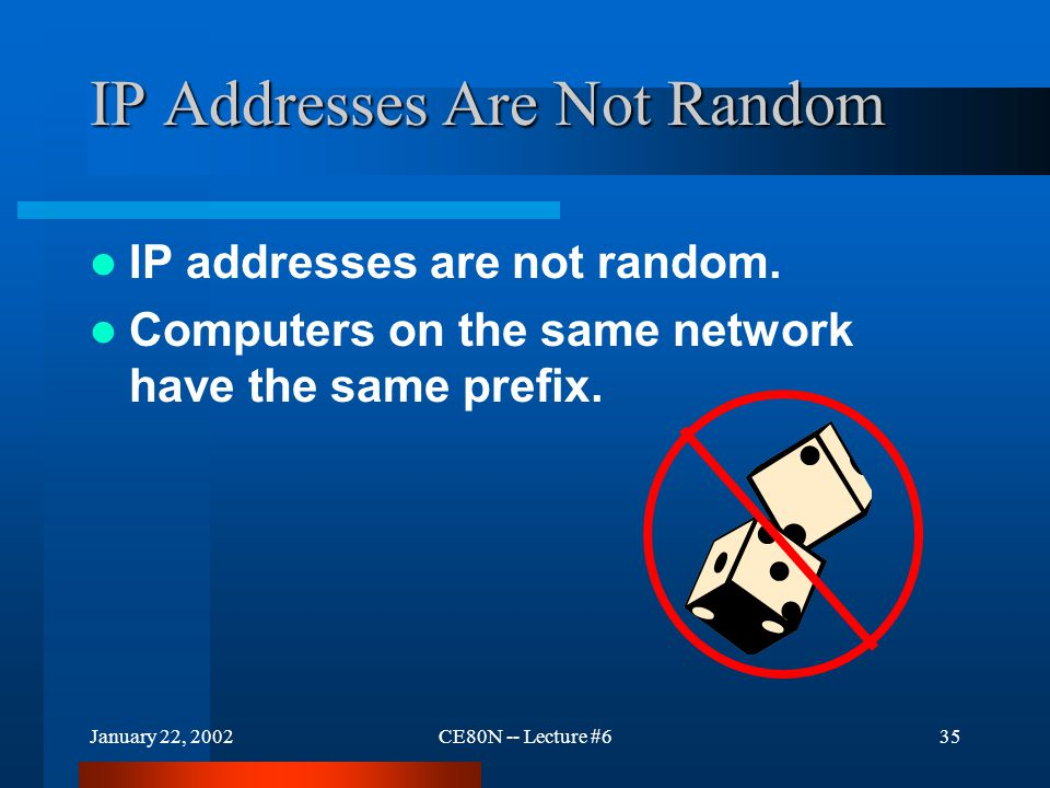 January 22, 2002CE80N -- Lecture #635 IP Addresses Are Not Random IP addresses are not random.