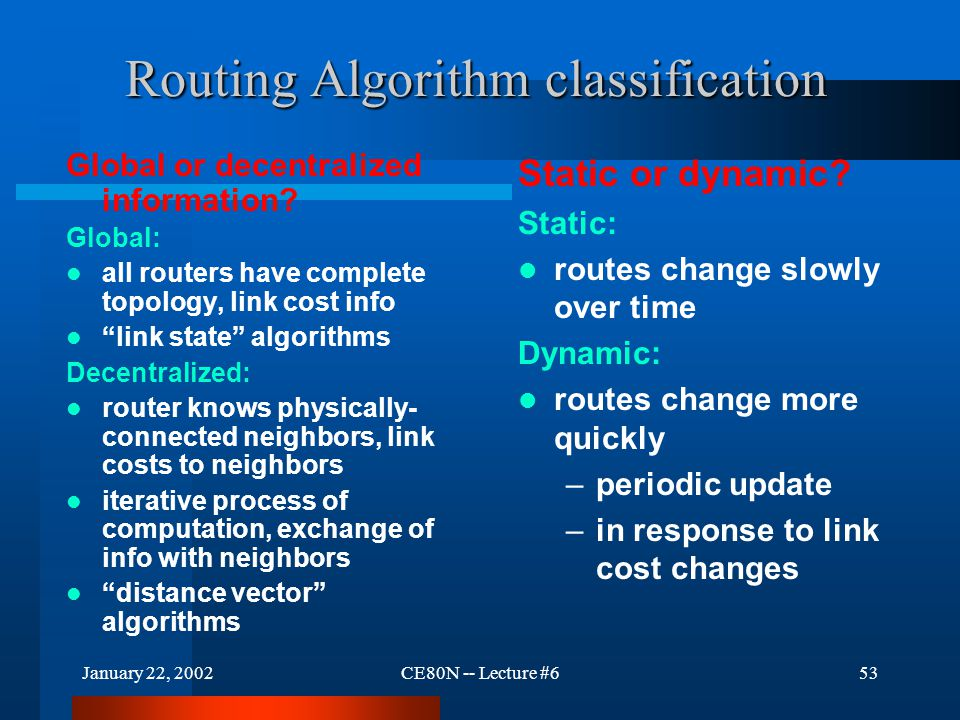 January 22, 2002CE80N -- Lecture #653 Routing Algorithm classification Routing Algorithm classification Global or decentralized information.