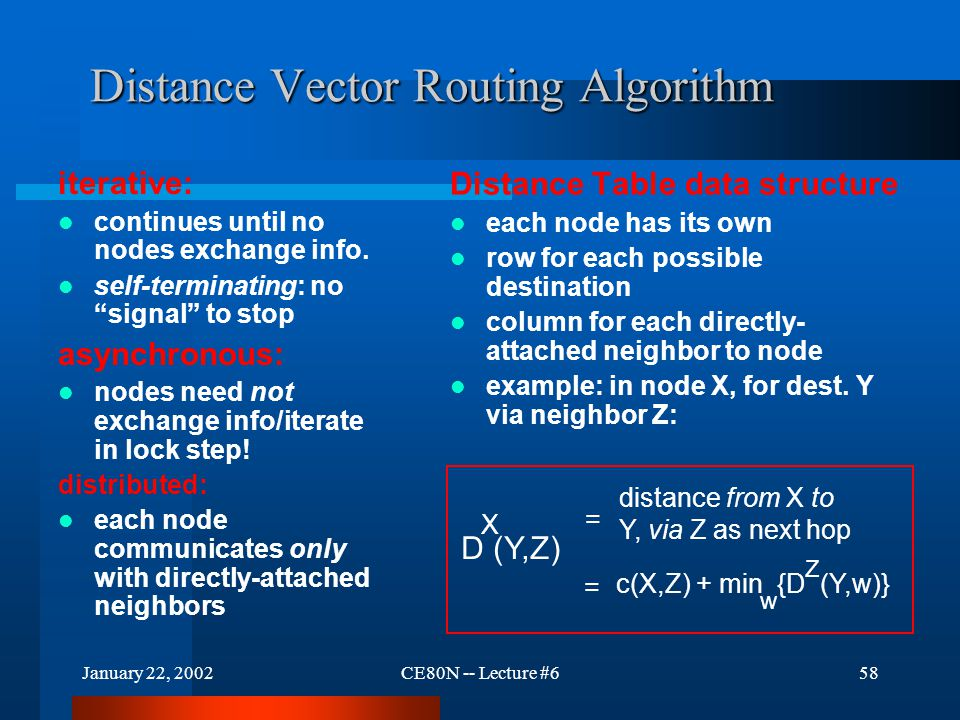 January 22, 2002CE80N -- Lecture #658 Distance Vector Routing Algorithm iterative: continues until no nodes exchange info.