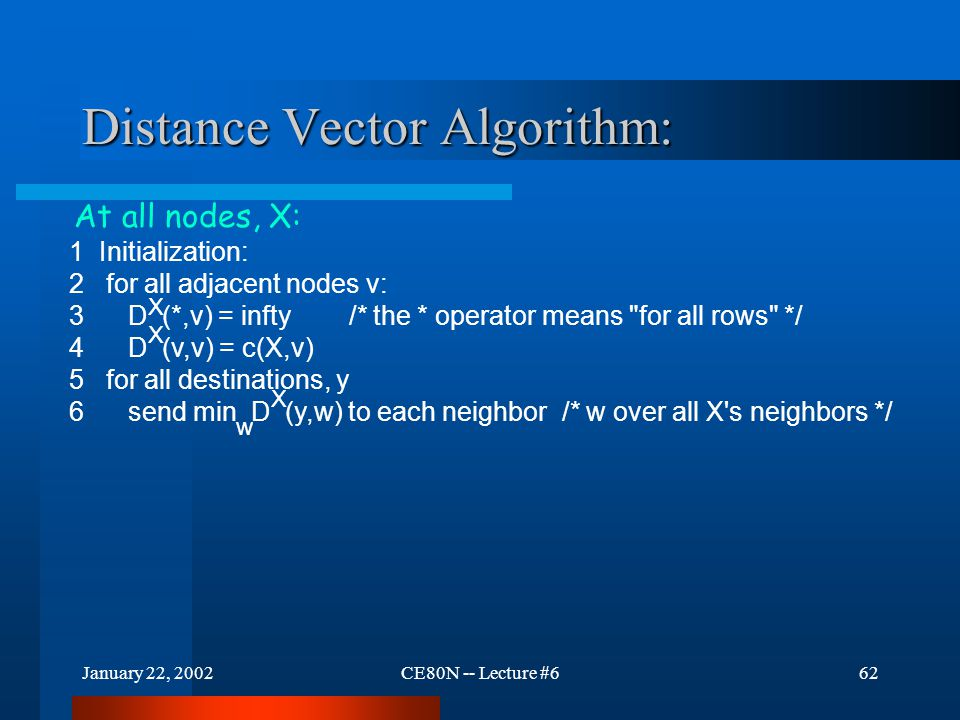 January 22, 2002CE80N -- Lecture #662 Distance Vector Algorithm: 1 Initialization: 2 for all adjacent nodes v: 3 D (*,v) = infty /* the * operator mea