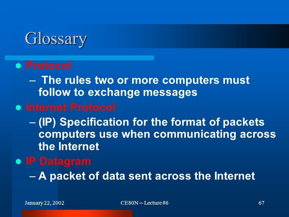 January 22, 2002CE80N -- Lecture #667 Glossary Protocol – The rules two or more computers must follow to exchange messages Internet Protocol –(IP) Spe