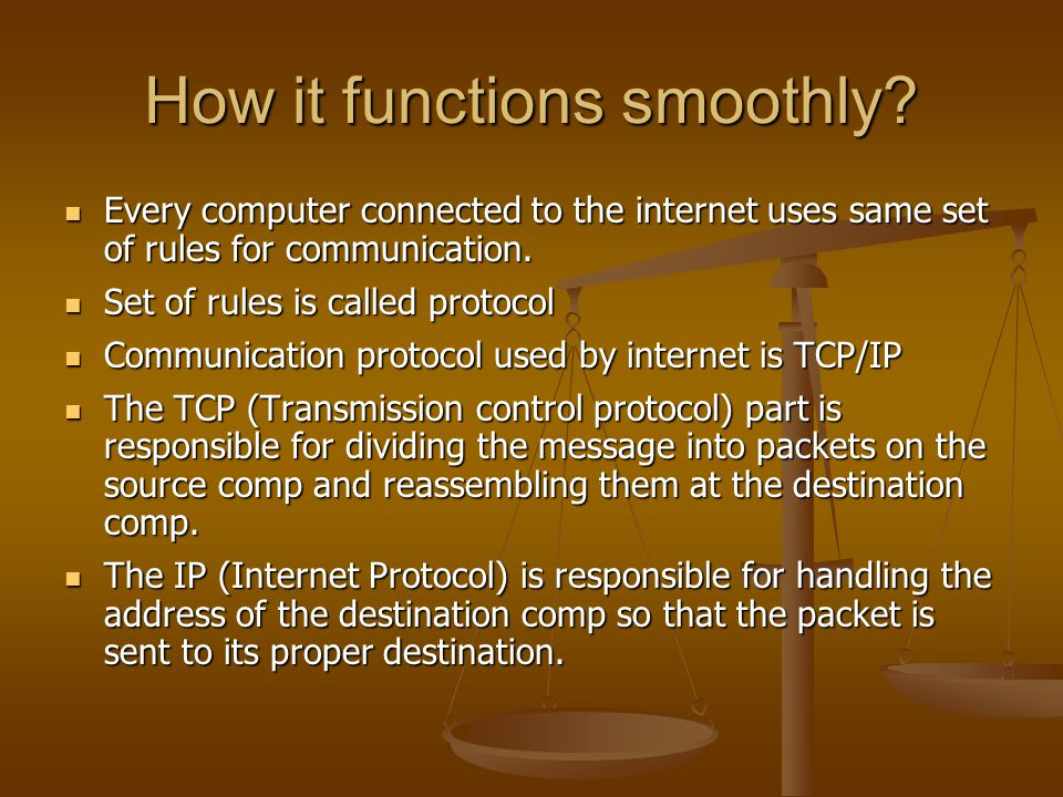 How it functions smoothly? Every computer connected to the internet uses same set of rules for communication. Every computer connected to the internet