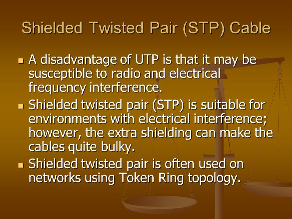 Shielded Twisted Pair (STP) Cable A disadvantage of UTP is that it may be susceptible to radio and electrical frequency interference. A disadvantage o