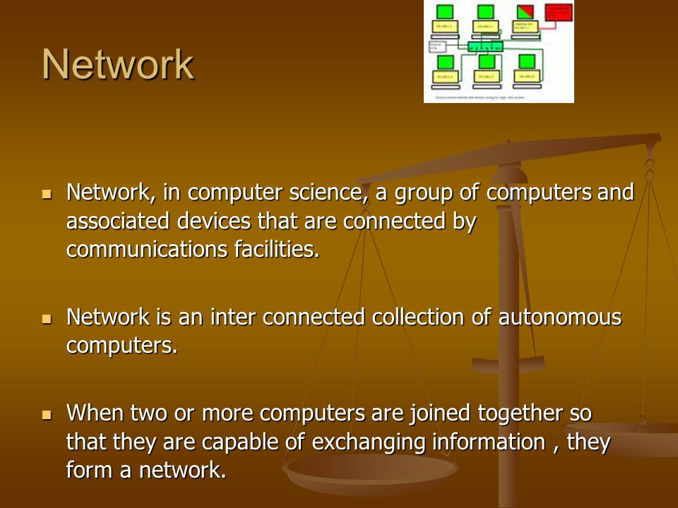 Network Network, in computer science, a group of computers and associated devices that are connected by communications facilities. Network, in compute