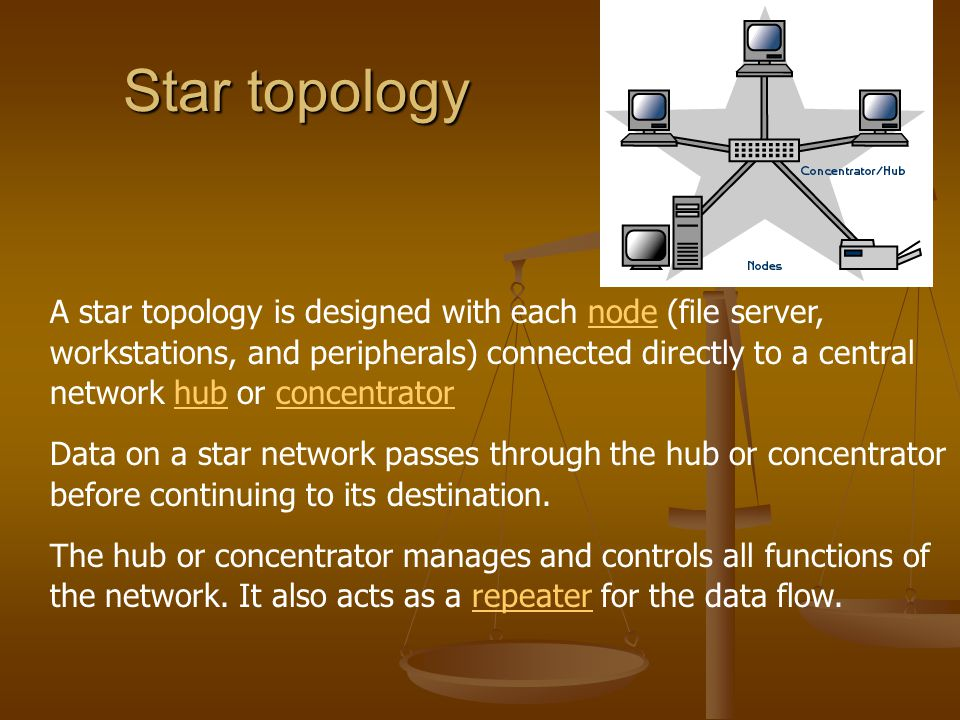 Star topology A star topology is designed with each node (file server, workstations, and peripherals) connected directly to a central network hub or c