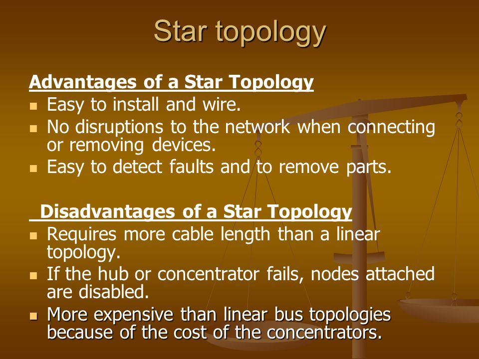 Star topology Advantages of a Star Topology Easy to install and wire. No disruptions to the network when connecting or removing devices. Easy to detec