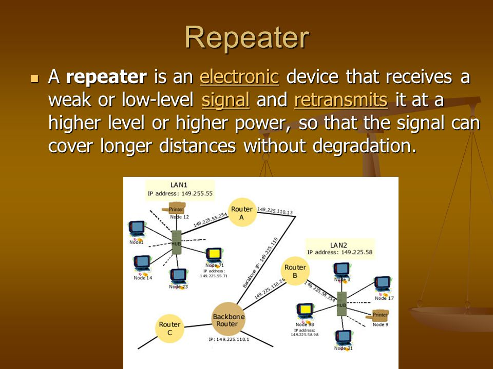 Repeater A repeater is an electronic device that receives a weak or low-level signal and retransmits it at a higher level or higher power, so that the