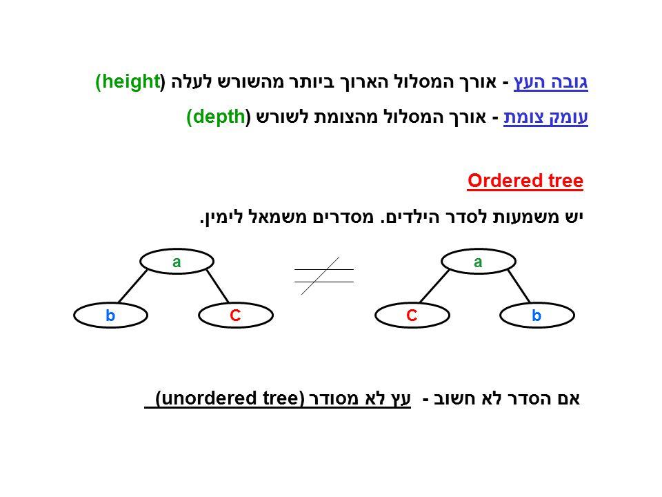 גובה העץ - אורך המסלול הארוך ביותר מהשורש לעלה (height) עומק צומת - אורך המסלול מהצומת לשורש (depth) Ordered tree יש משמעות לסדר הילדים. מסדרים משמאל