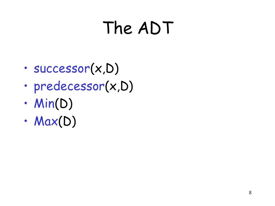 8 The ADT successor(x,D) predecessor(x,D) Min(D) Max(D)