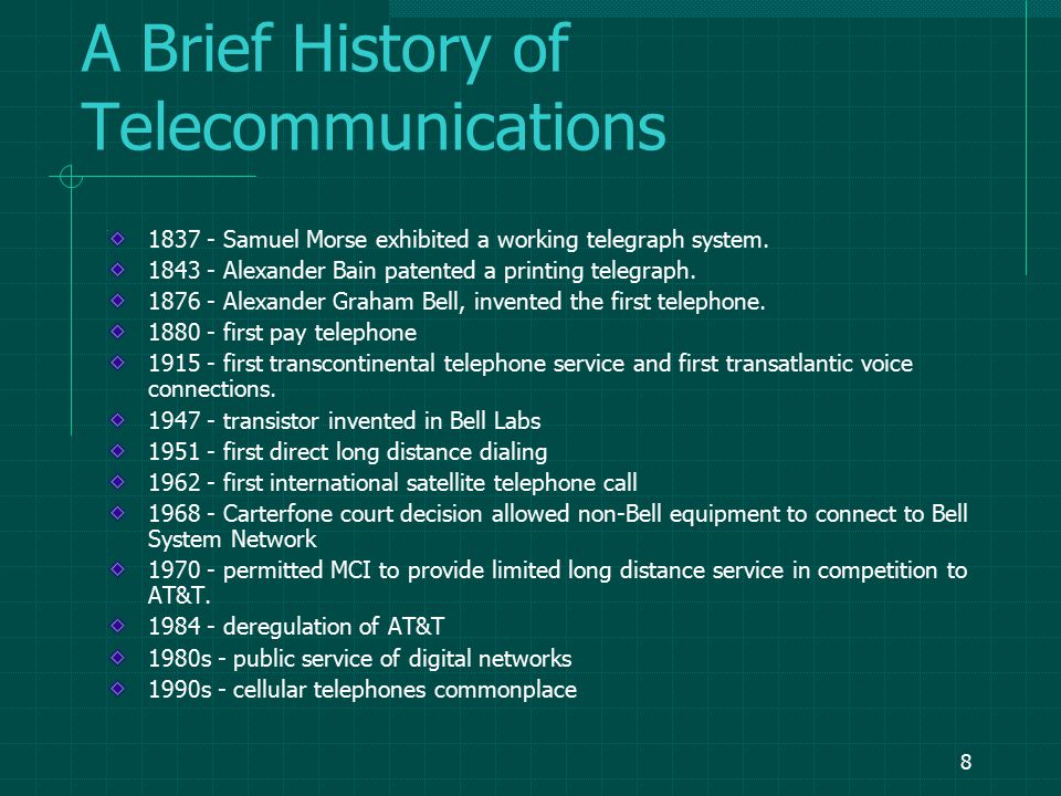7 Data Communications Definitions: Data Communications The movement of computer information from one point to another by means of electrical or optical transmission systems.
