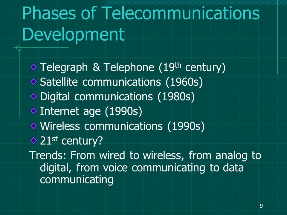 8 A Brief History of Telecommunications 1837 - Samuel Morse exhibited a working telegraph system.