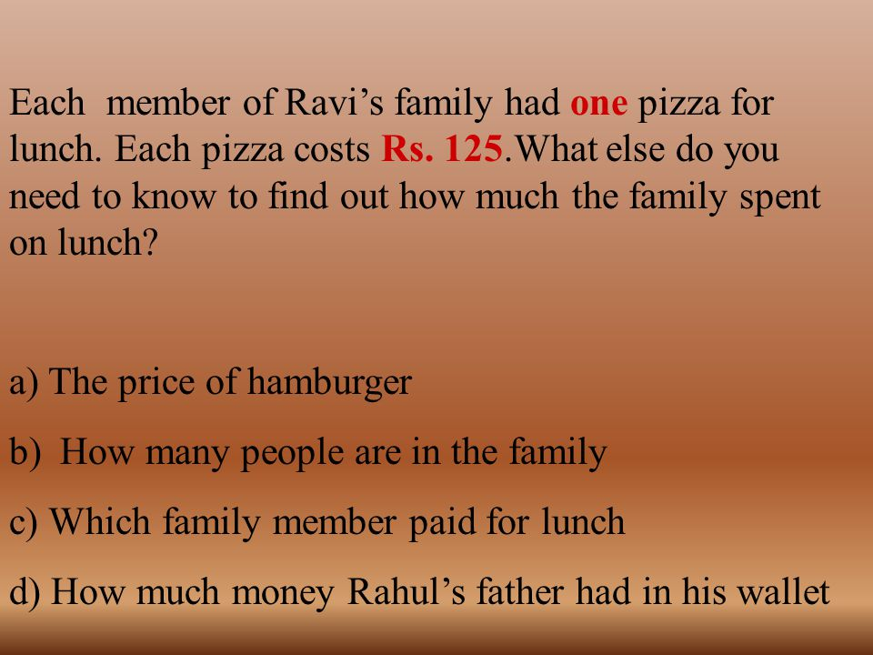 Each member of Ravi's family had one pizza for lunch. Each pizza costs Rs. 125.What else do you need to know to find out how much the family spent on