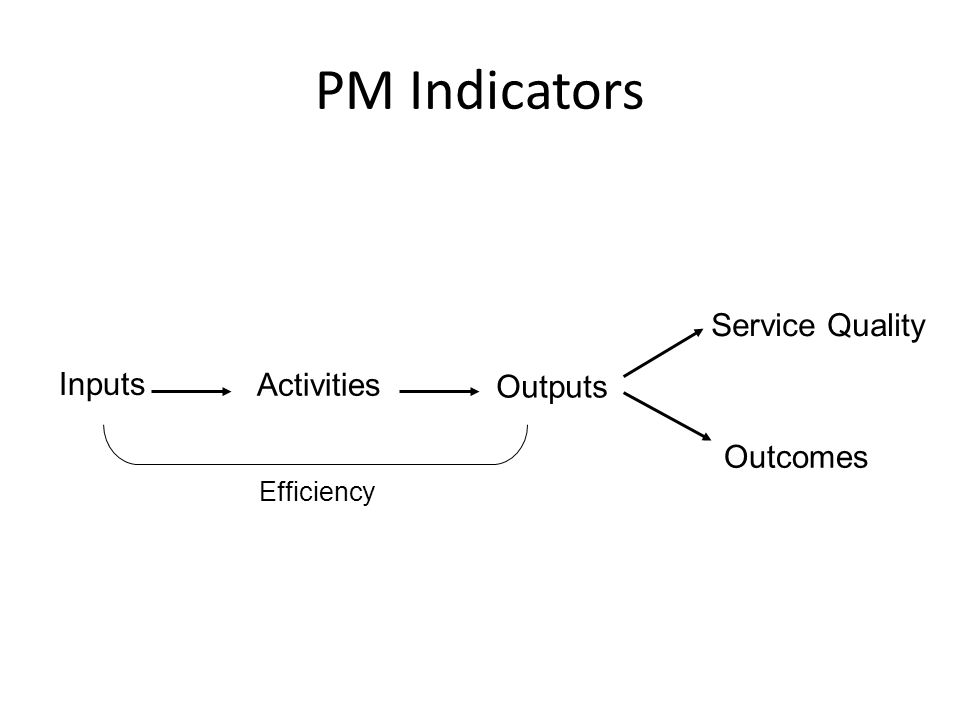 PM Indicators Inputs Activities Outputs Outcomes Service Quality Efficiency