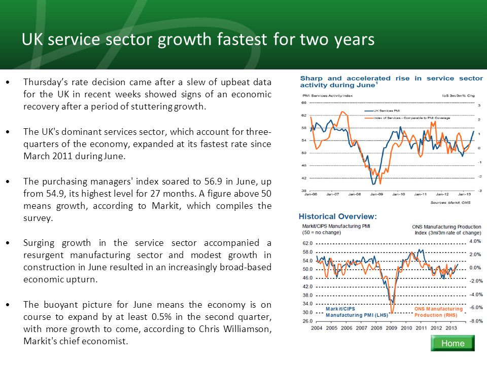 15 UK service sector growth fastest for two years Thursday's rate decision came after a slew of upbeat data for the UK in recent weeks showed signs of an economic recovery after a period of stuttering growth.