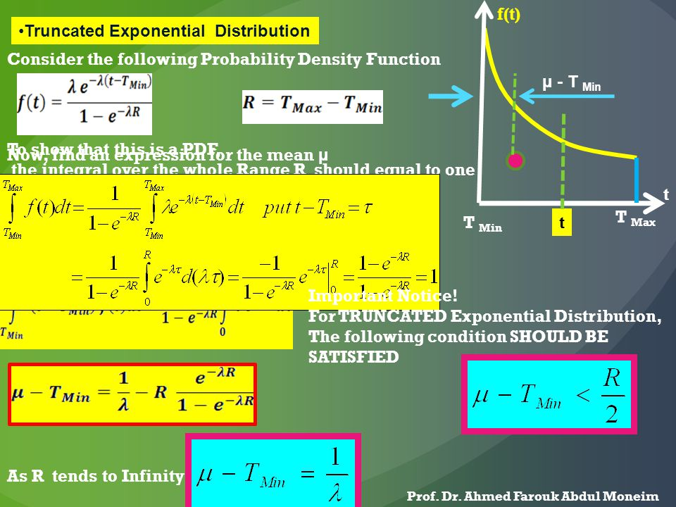 Truncated Exponential Distribution T Min T Max t Consider the following Probability Density Function To show that this is a PDF, the integral over the whole Range R should equal to one Now, find an expression for the mean μ μ - T Min f(t) t Important Notice.