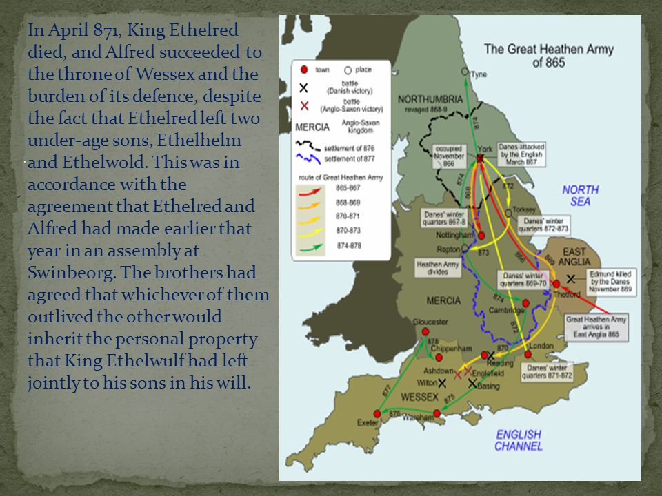 In April 871, King Ethelred died, and Alfred succeeded to the throne of Wessex and the burden of its defence, despite the fact that Ethelred left two under-age sons, Ethelhelm and Ethelwold.