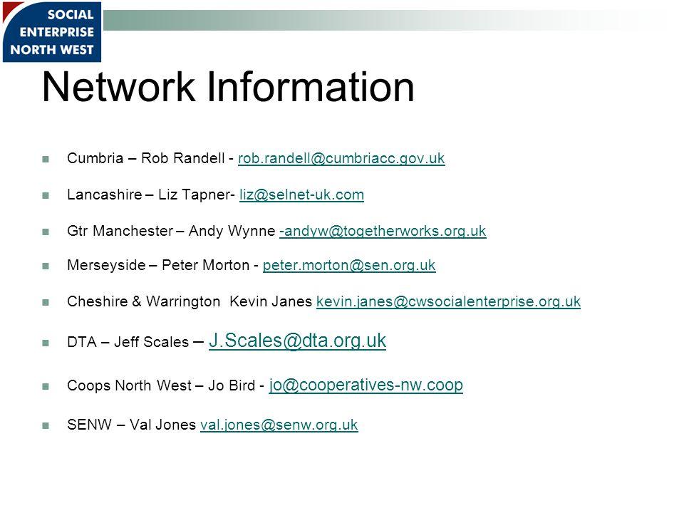 Network Information Cumbria – Rob Randell - rob.randell@cumbriacc.gov.ukrob.randell@cumbriacc.gov.uk Lancashire – Liz Tapner- liz@selnet-uk.comliz@selnet-uk.com Gtr Manchester – Andy Wynne -andyw@togetherworks.org.uk-andyw@togetherworks.org.uk Merseyside – Peter Morton - peter.morton@sen.org.ukpeter.morton@sen.org.uk Cheshire & Warrington Kevin Janes kevin.janes@cwsocialenterprise.org.ukkevin.janes@cwsocialenterprise.org.uk DTA – Jeff Scales – J.Scales@dta.org.ukJ.Scales@dta.org.uk Coops North West – Jo Bird - jo@cooperatives-nw.coop jo@cooperatives-nw.coop SENW – Val Jones val.jones@senw.org.ukval.jones@senw.org.uk