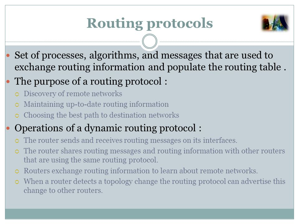 Routing protocols classification Why, What, When