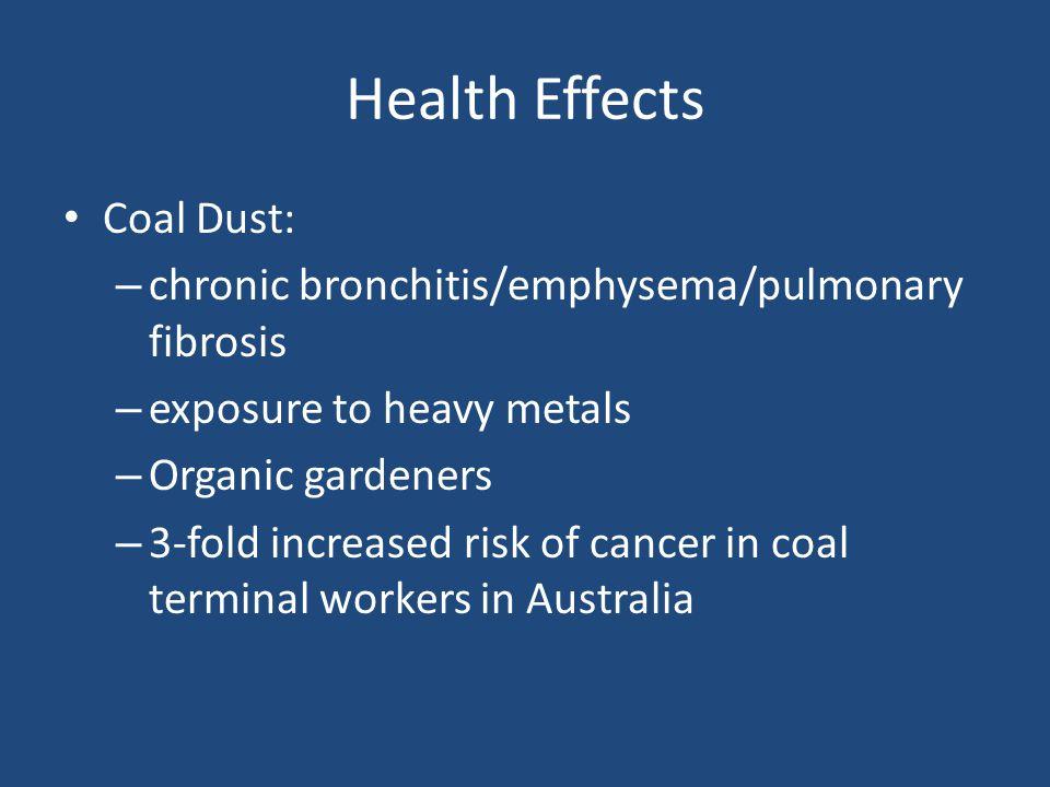 Health Effects Coal Dust: – chronic bronchitis/emphysema/pulmonary fibrosis – exposure to heavy metals – Organic gardeners – 3-fold increased risk of